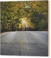 Country Road In Fall Wood Print