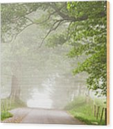 Country Road In The Fog Wood Print