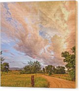 Country Road Into The Storm Front Wood Print