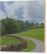 Country Road With Limestone Fence Wood Print