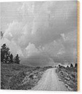 Country Road With Stormy Sky In Black And White Wood Print