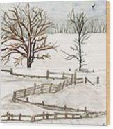 Country Snow Scene Ozaukee County Wisconsin Wood Print