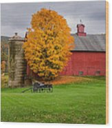 Country Wagon Square Wood Print