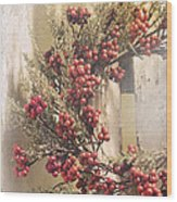 Country Wreath With Red Berries Wood Print
