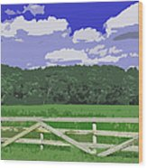 Countryside Scene Digital Painting Wood Print