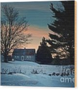 Countryside Winter Evening Wood Print