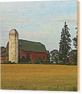 County Barn - Digital Painting Effect Wood Print