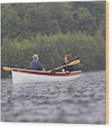 Couple Boating On Lake, Maine, Usa Wood Print