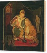 Couple Counting Money By Candlelight, 1779 Panel Wood Print