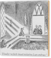 Couple Entering Church Find Bar Patrons Sitting Wood Print