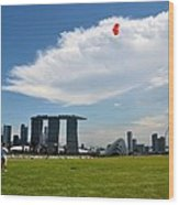 Couple Flies Kite Marina Bay Sands Singapore Wood Print