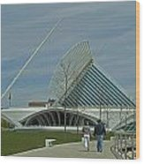 Couple In Front Of Milwaukee Art Museum Wood Print