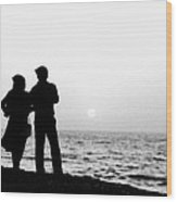 Couple Looking Out To Sea Wood Print