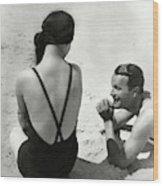 Couple On A Beach Wood Print