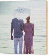 Couple On The Beach Wood Print