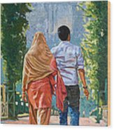 Couple Under The Leafy Arch Wood Print