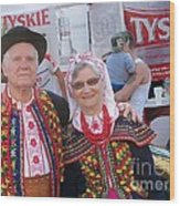 Couples In Polish National Costumes Wood Print