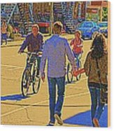 Couples Summer In The City Walking Biking Strolling With Baby Carriage Art Of Montreal Street Scene Wood Print