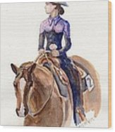 Horse Painting Cowgirl Courage Wood Print