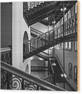 Courthouse Staircases Wood Print