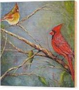 Courting Cardinals, Birds Wood Print