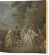 Courtly Scene In A Park, C.1730-35 Wood Print