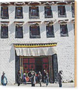 Courtyard Entry To Potala Palace In Lhasa-tibet Wood Print