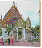 Courtyard In Wat Po In Bangkok-thailand Wood Print