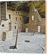Courtyard Of Spruce Tree House On Chapin Mesa In Mesa Verde National Park-colorado  Wood Print