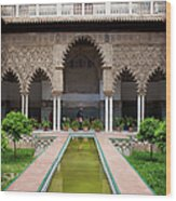 Courtyard Of The Maidens In Alcazar Palace Of Seville Wood Print