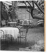 Courtyard Seating Wood Print by John Rizzuto