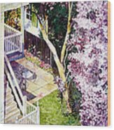 Courtyard With Cherry Blossoms Wood Print