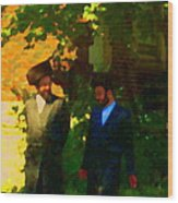 Covenant Conversation Two Men Of God Hasidic Community Montreal City Scene Rabbinical Art Carole Spa Wood Print