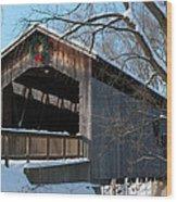 Covered Bridge At Christmas Wood Print