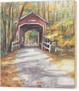 Covered Bridge Autumn Shadows Watercolor Painting Wood Print