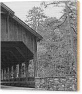 Covered Bridge Black And White Wood Print