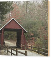 Covered Bridge Wood Print by Cindy Rubin