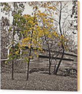 Covered Bridge In Autumn Wood Print