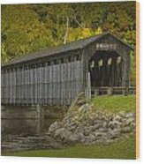 Covered Bridge In Fall Wood Print