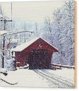 Covered Bridge In Winter Wood Print
