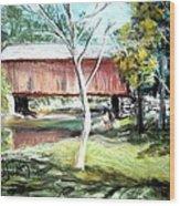 Covered Bridge Newport Nh Wood Print