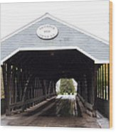 Covered Bridge North Conway Sacco River Wood Print