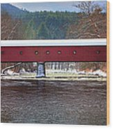 Covered Bridge Of West Cornwall-winter Panorama Wood Print by Thomas Schoeller