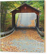 Covered Bridge On Pierce Stocking Scenic Drive Within Sleeping B Wood Print