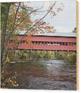 Covered Bridge Over Swift River Wood Print