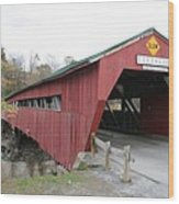 Covered Bridge Taftsville Wood Print