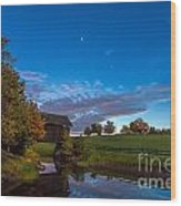 Covered Bridge Under A Vermont Sky Wood Print