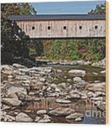 Covered Bridge Vermont Wood Print by Edward Fielding