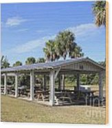 Covered Picnic Tables Wood Print