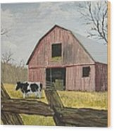 Cow And Barn Wood Print by Norm Starks